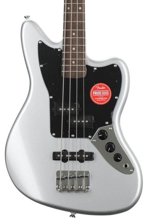 squier vintage modified jaguar bass special ss - silver | sweetwater