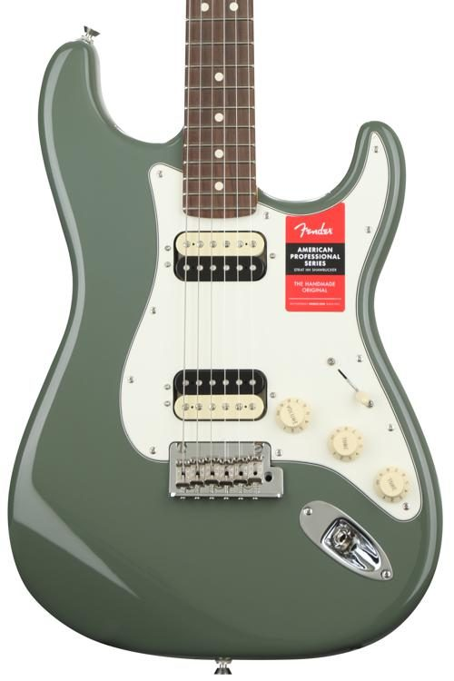 American Professional HH Shawbucker Stratocaster - Antique Olive with on