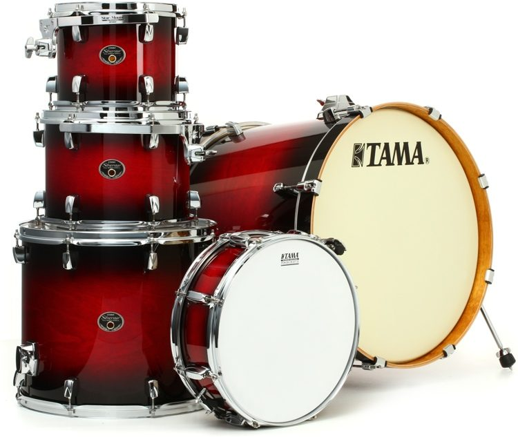 Tama Silverstar Custom 5 Piece Drum Kit Transparent Red Burst
