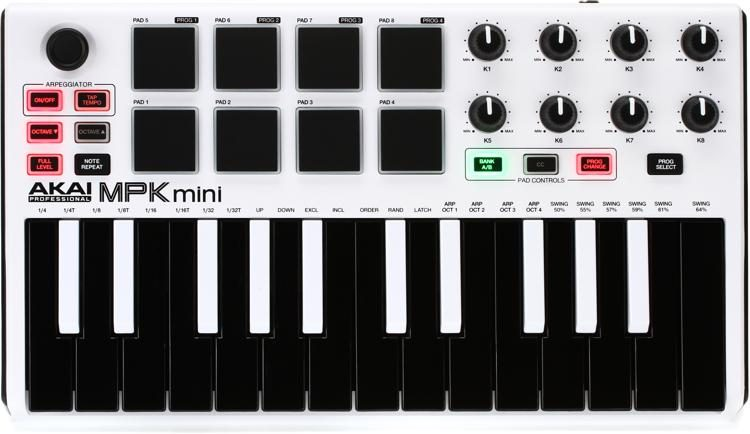 MPK Mini mkII Keyboard Controller - Limited Edition White with Reverse Keys