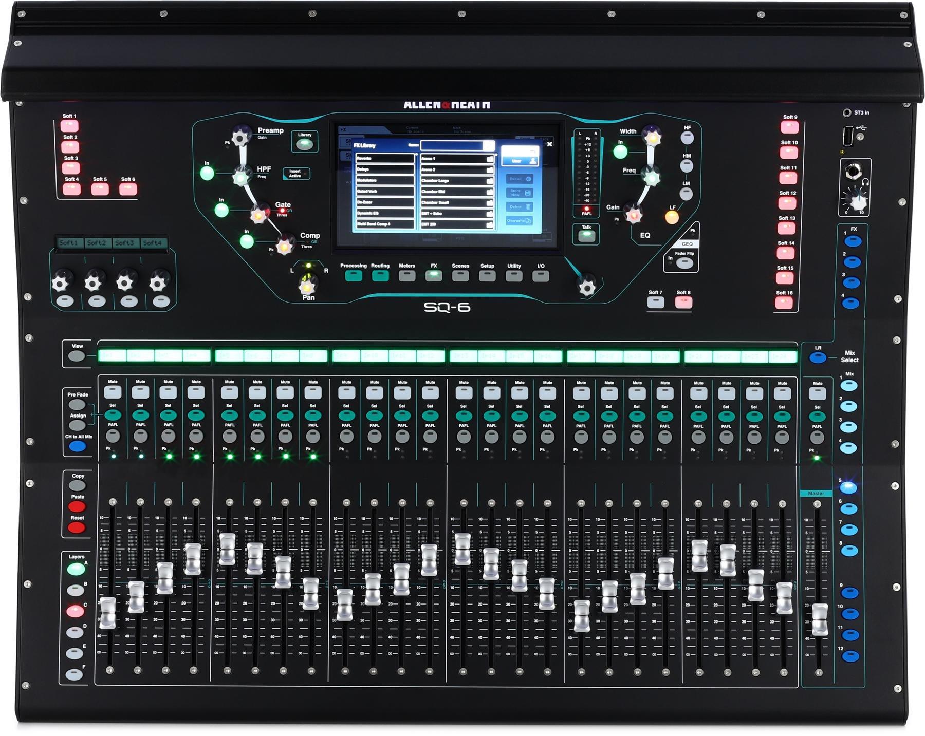Allen Heath Sq 6 Digital Mixer Sweetwater Cable Neutrik Xlr 1 4quot Combo Jacks And Phantom Power Sound Design Image