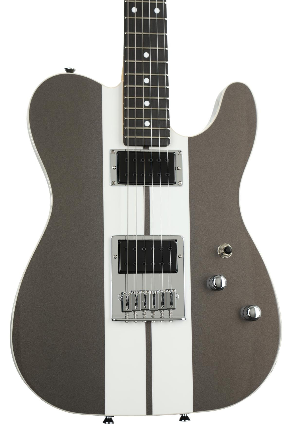 Schecter Usa Pt Custom Charcoal Gray W Racing Stripe Sweetwater Humbuckers 3way Toggle Switch 2 Volumes 1 Tone Coil Tap Series Image