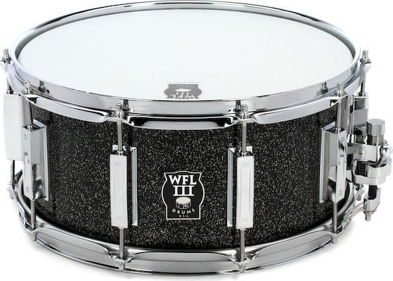 wfliii 1909 series aluminum snare drum 6 5 x 14 black sparkle with chrome hardware sweetwater. Black Bedroom Furniture Sets. Home Design Ideas