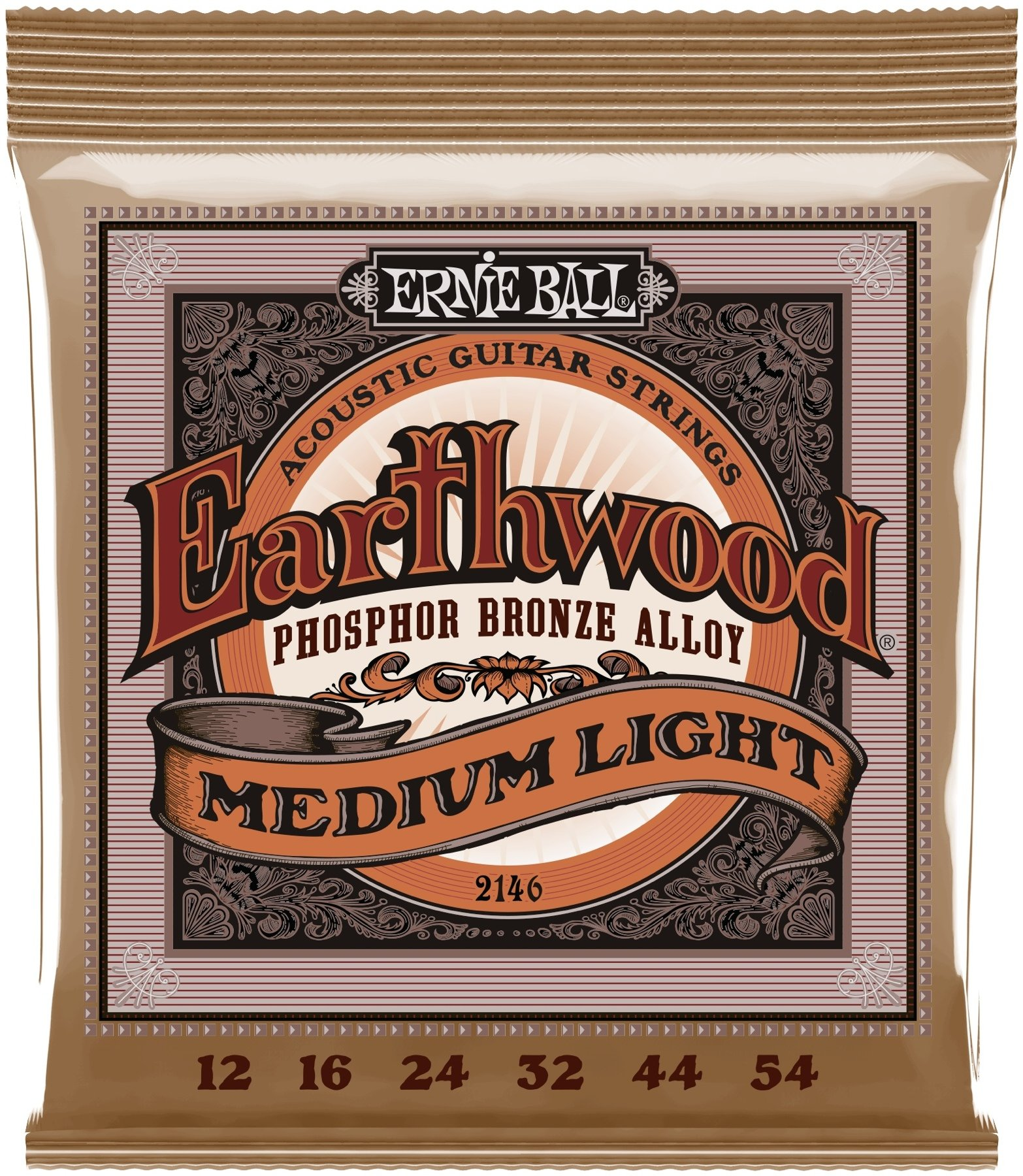 .012-.054 Medium Light Ernie Ball EB 2146 Earthwood Phosp Bronze