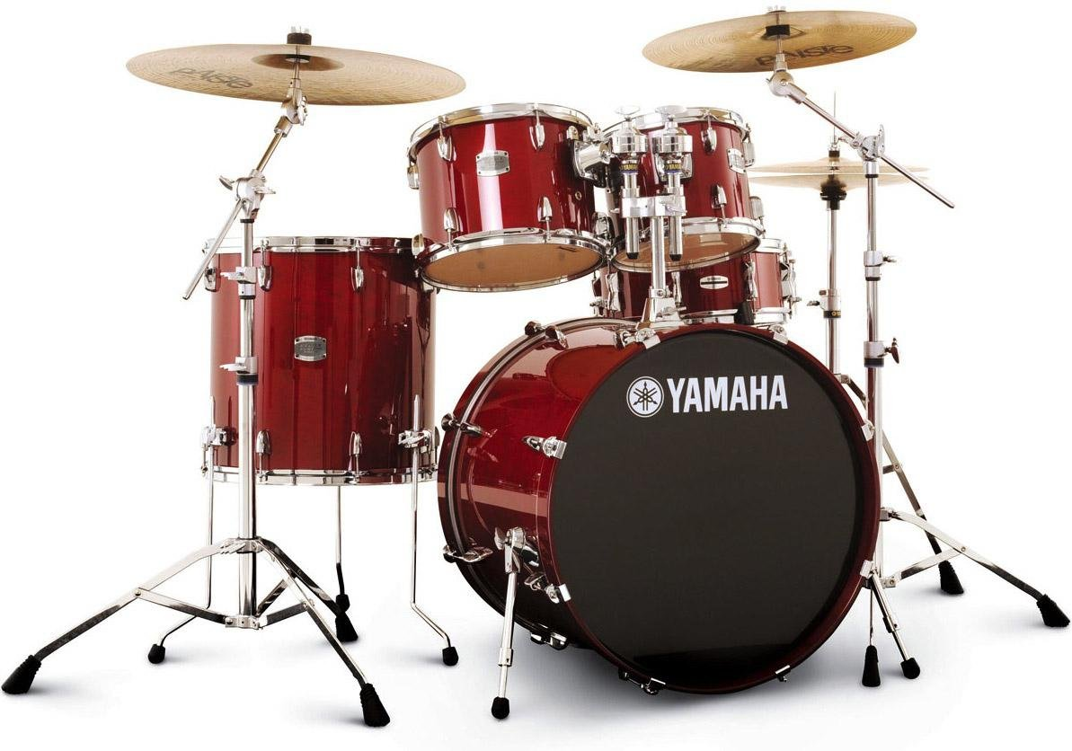 yamaha drums. yamaha stage custom birch drum set - cranberry red image 1 drums a