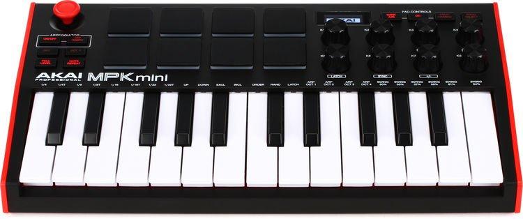 Akai MPK Mini MK3 White USB Midicontroller Keyboard 25 Minitasten 8 MPC Pads DAW