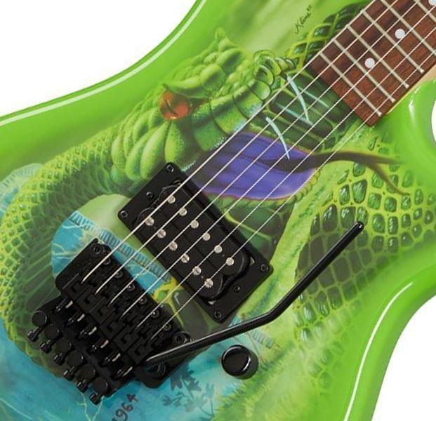 f1c06d ~edited kbvdssnbf angle - Kramer Snake Sabo Baretta Green Guitar Reverse Headstock