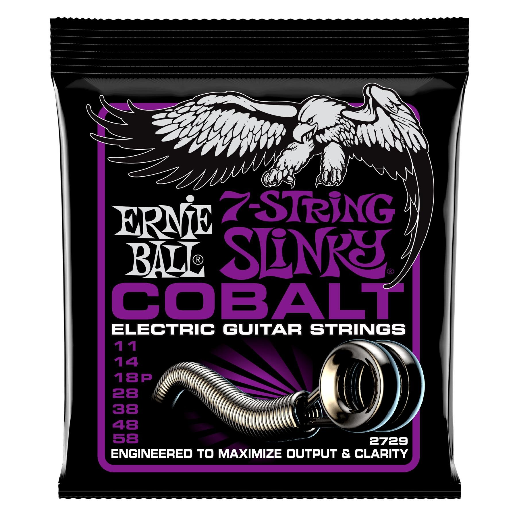 Ernie Ball 2729 Cobalt 7-string Power Slinky Electric Strings image 1