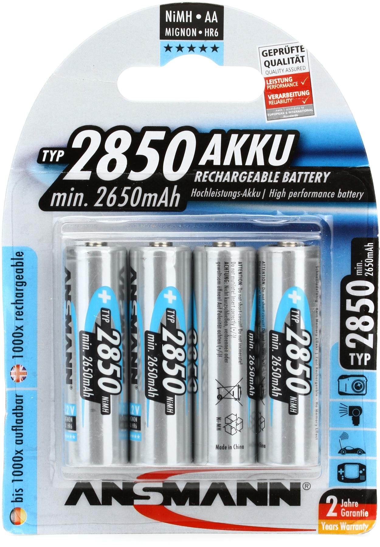 Ansmann 2850 mah AA Rechargeable Battery 4-pk | Sweetwater