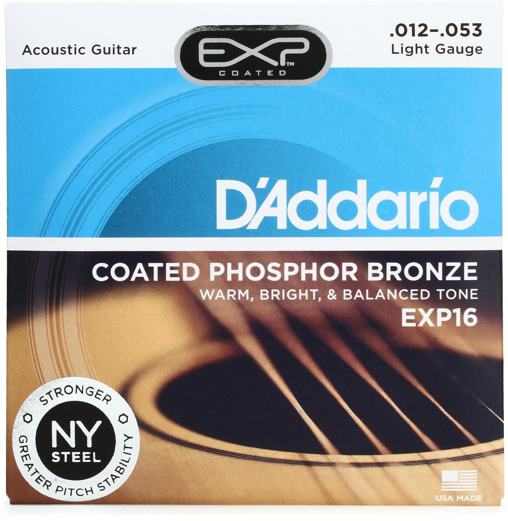 D Addario Exp16 Coated Phosphor Bronze Light Acoustic Strings Sweetwater