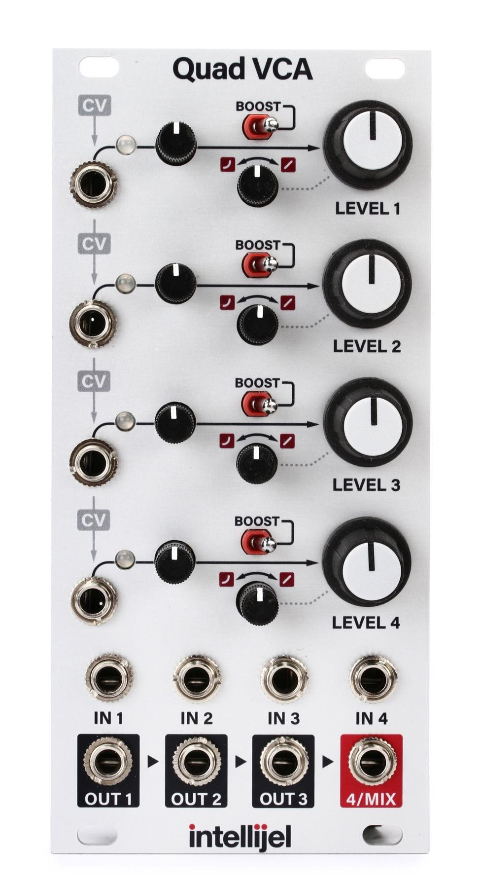 Intellijel Quad Vca Eurorack Amplifier And Cascaded Mixer Module Sweetwater