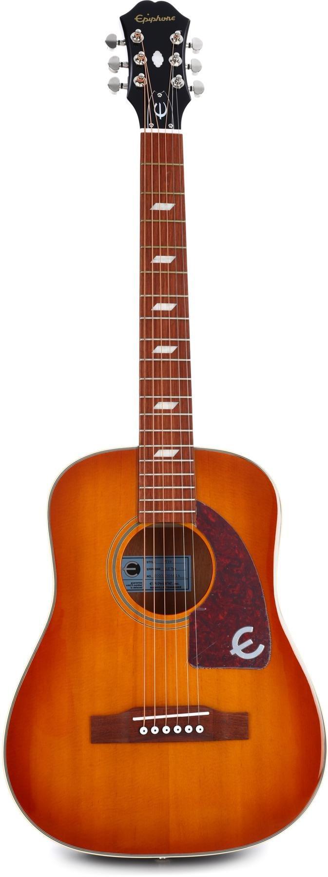 Faded Cherry Sunburst Epiphone Lil Tex Travel Electro Acoustic Guitar