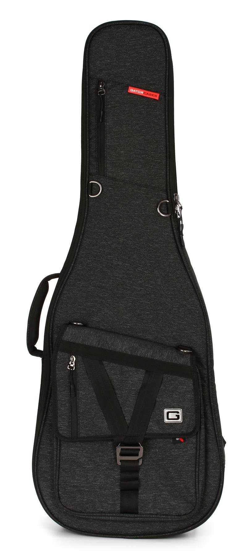 Black 2-Electric Guitar Carrying Gig Bag Padded Soft Case W// Rubber Base Bumper