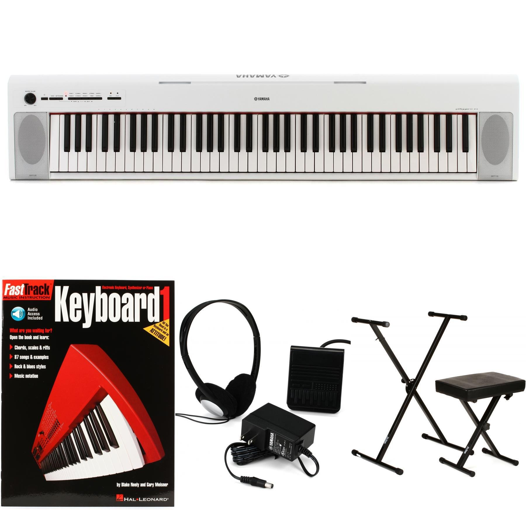 Yamaha Piaggero NP-32 Essential Keyboard Bundle - White | Sweetwater