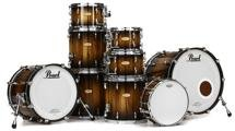 Pearl Masterworks Studio Exotic 9-piece Shell Pack - Black to Natural Burst over Cameroon Black Limba