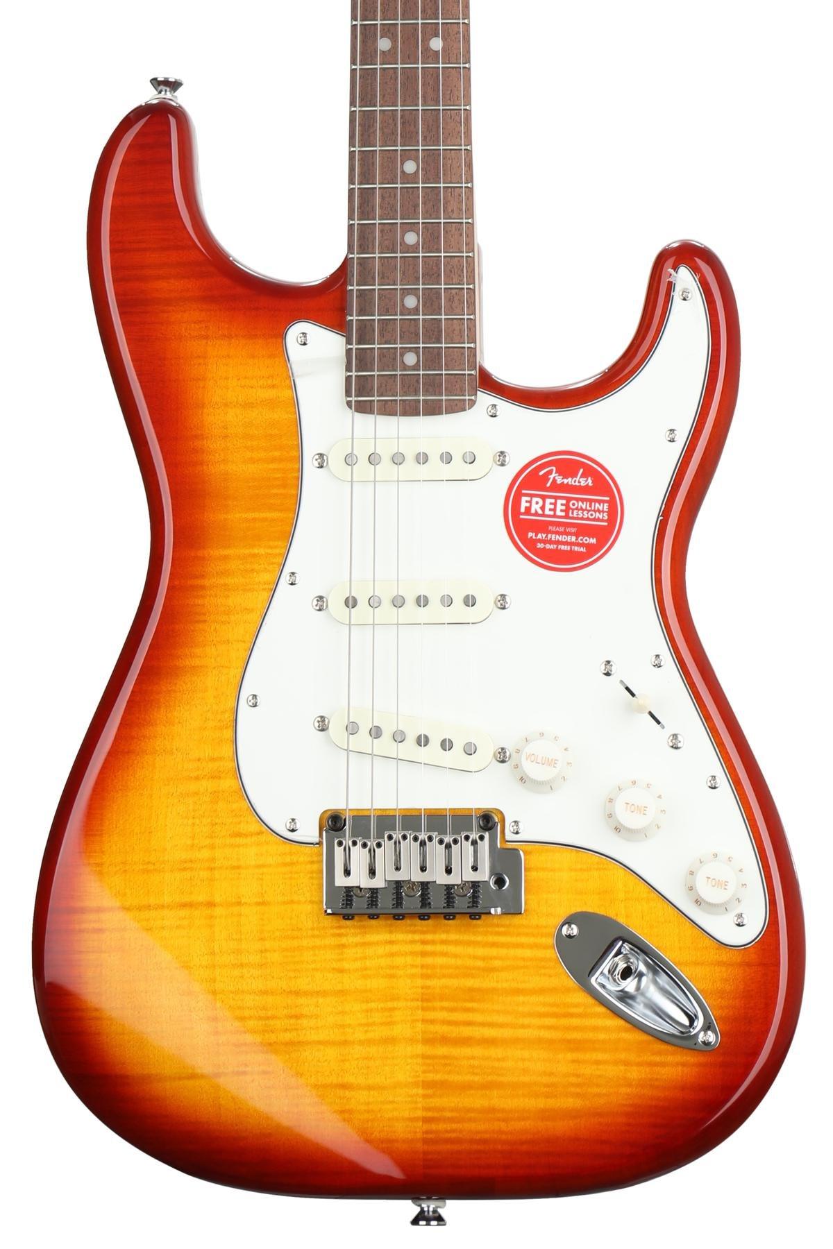 Squier Standard Stratocaster Fmt Amber Burst W Indian Laurel Fender Fingerboard Image 1