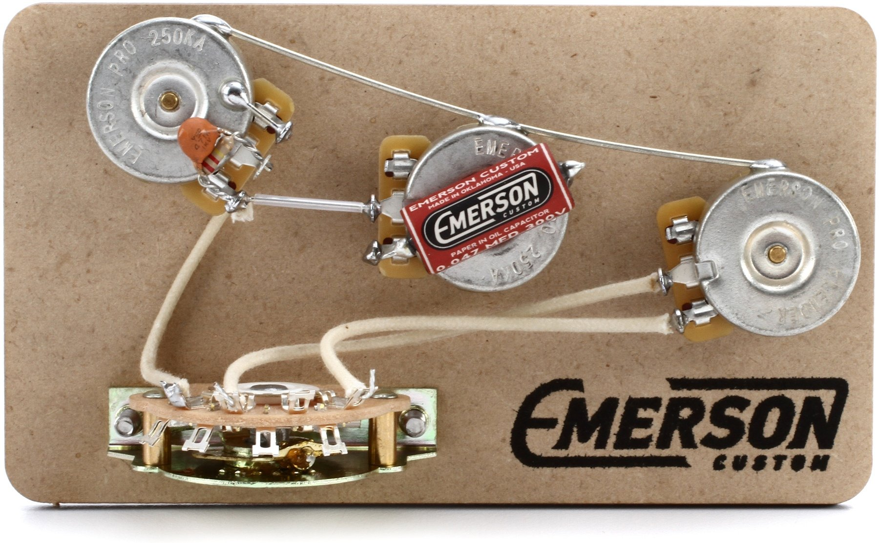 Emerson Custom 5 Way Blender Prewired Kit For Fender Stratocasters Gadgets 5way Switch 500k Pots Knobs Wiring Harness Pickup Strat 250kohm Image 1