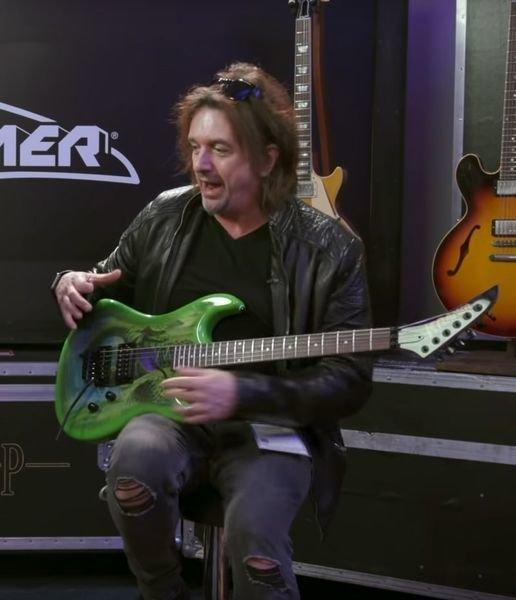 ad50c1 ~edited snake sabo screen grab - Kramer Snake Sabo Baretta Green Guitar Reverse Headstock