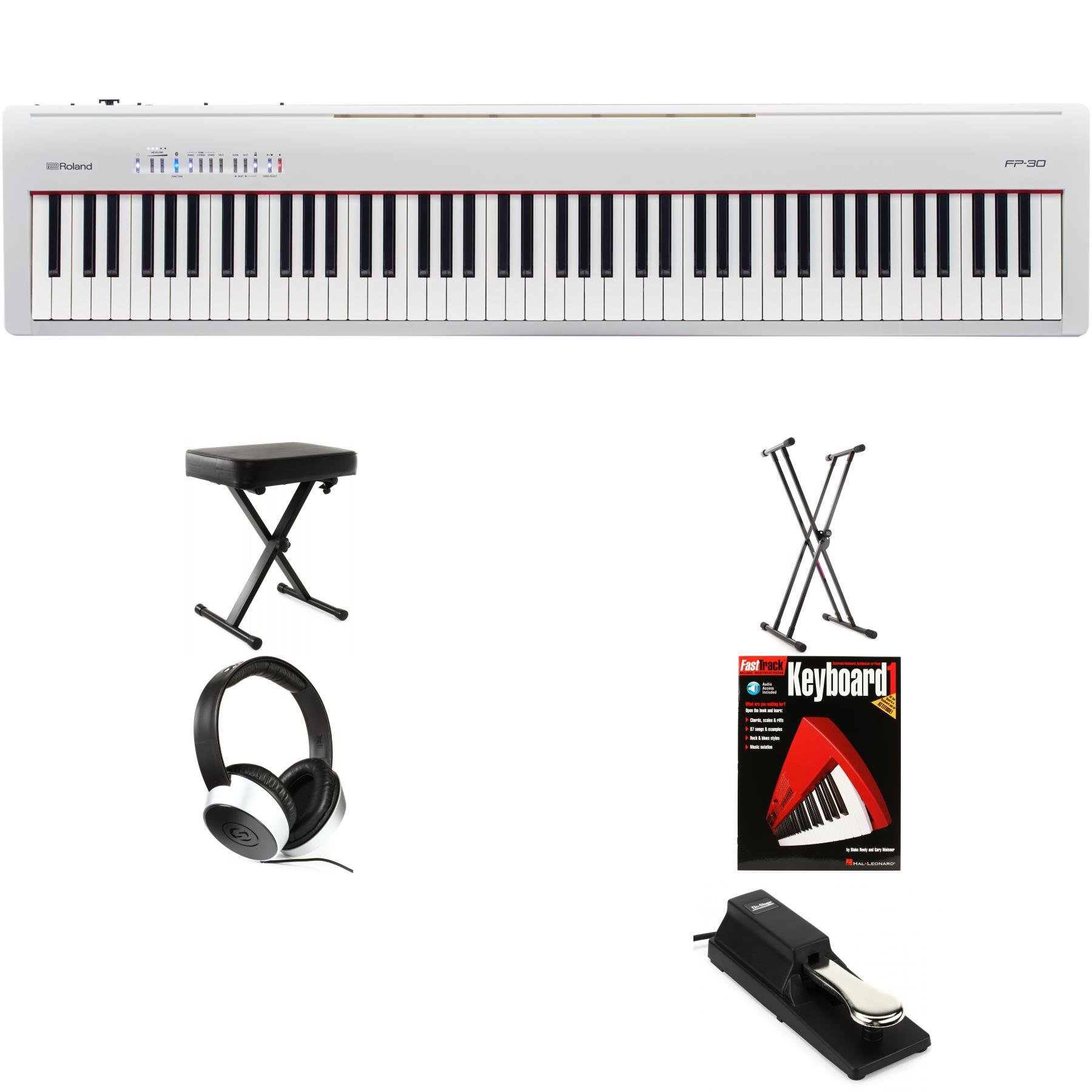 Roland Fp 30 Essential Keyboard Bundle White Sweetwater
