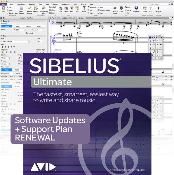Avid 1-Year Software Updates + Support RENEWAL for Sibelius