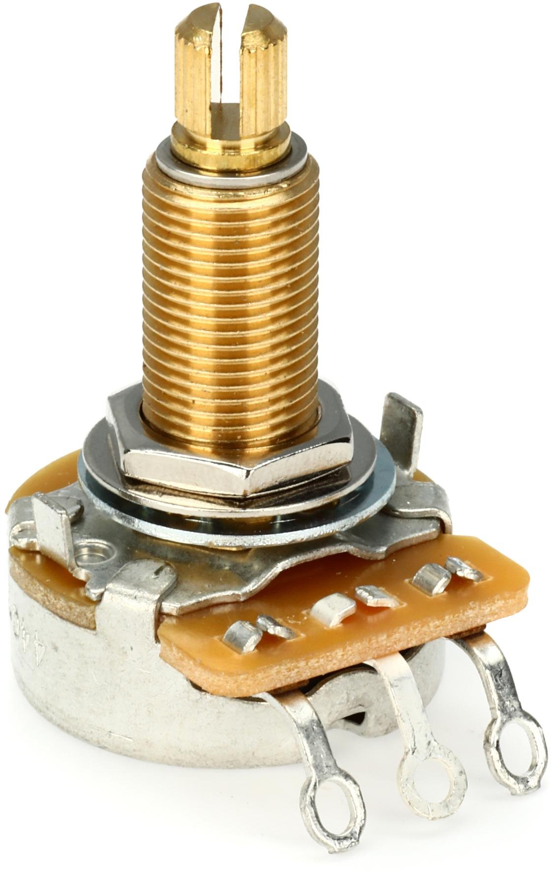 24mm Wide 2pcs Single Turn 3//8 Hole Mount 1//4 Diameter 1.5 Long Shaft 500 Ohm Potentiometer Linear Taper Pot