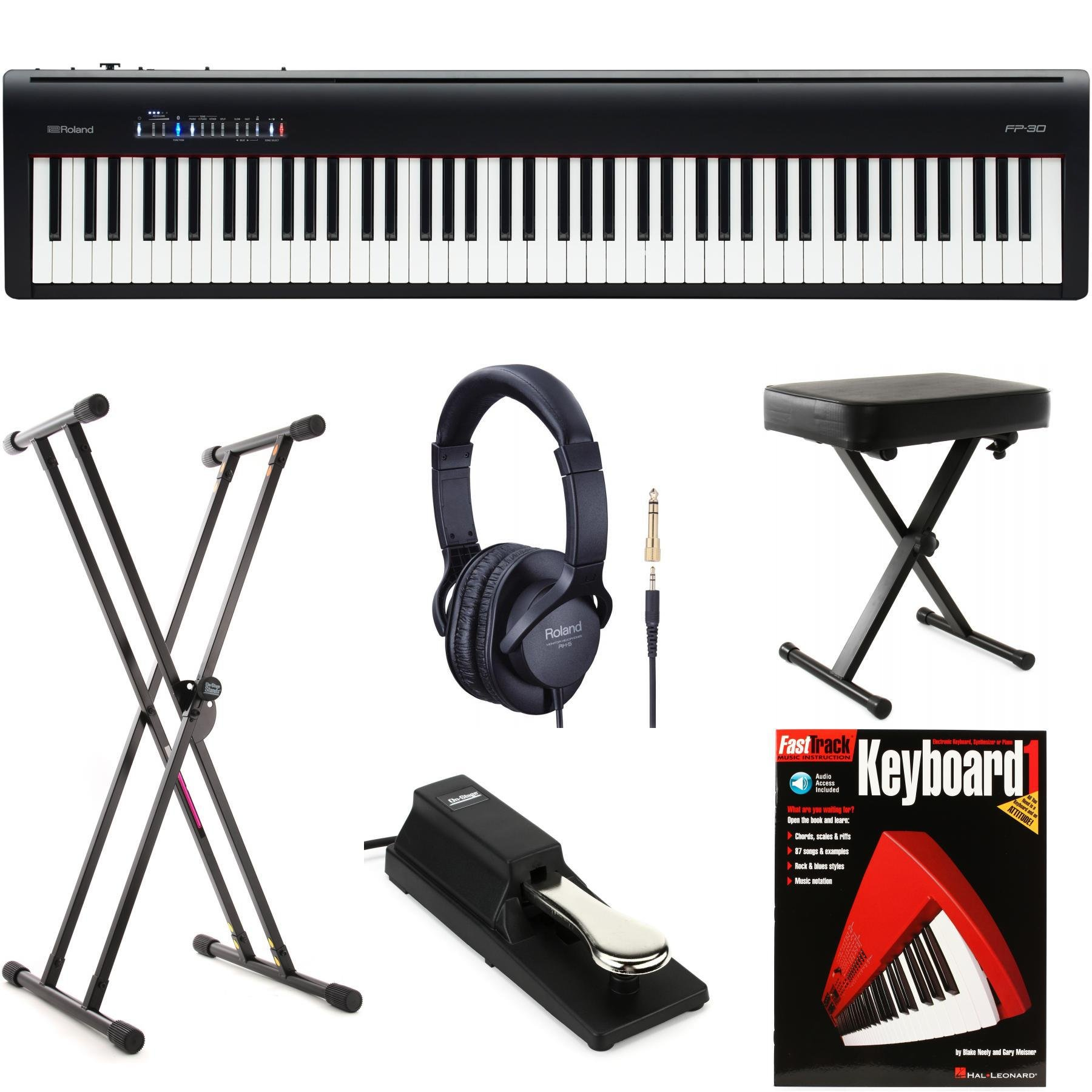 Roland Fp 30 Essential Keyboard Bundle Black Sweetwater