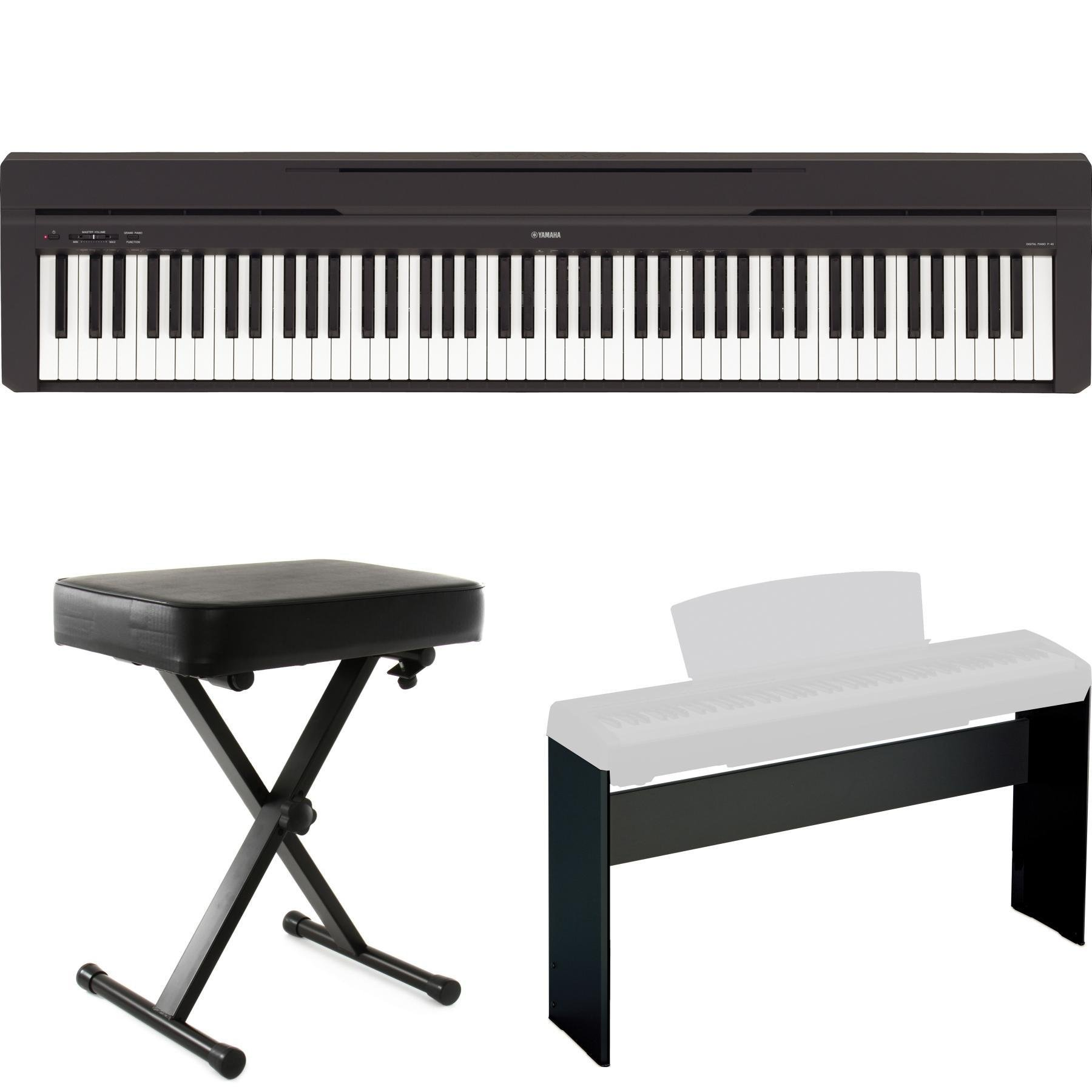 item black high straight gloss yamaha bench ebony padded piano top legs finish reverb
