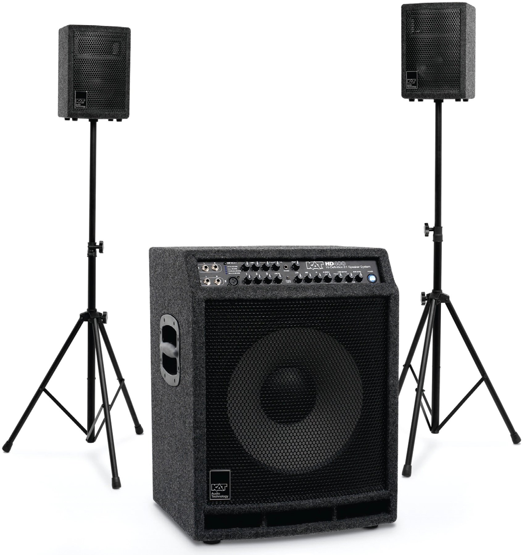 Kat Percussion 400 Watt 21 Stereo Drum Sound System Sweetwater Guitar Or Music Amplifier Home Powered Subwoofer Image 1