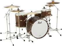 Pearl Masterworks Modern Dry Exotic 4-piece Shell Pack - Satin Brown Lacquer over Cameroon Black Limba