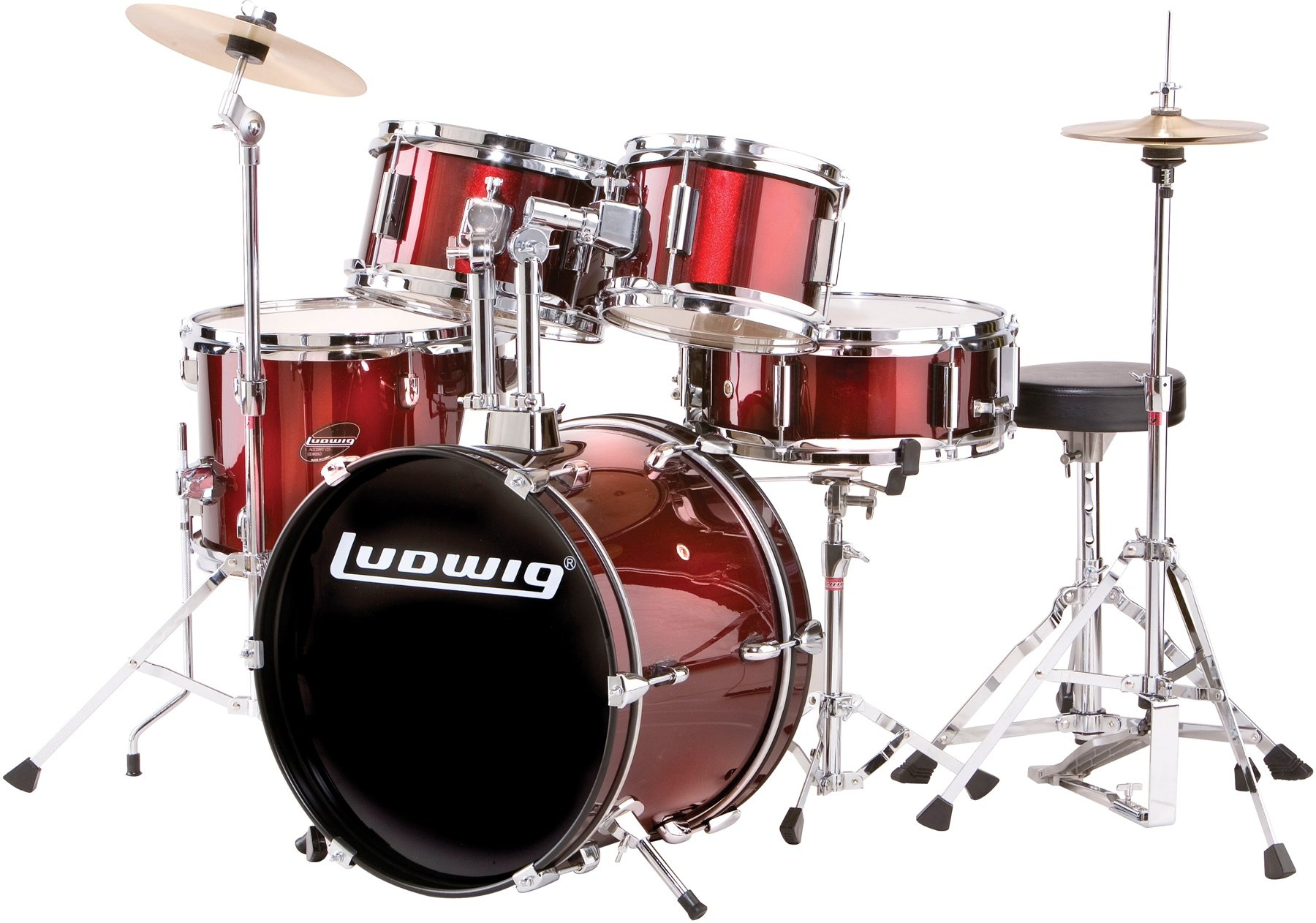 Ludwig 5-piece Junior Drum Set with Cymbals & Hardware - Wine Red image 1
