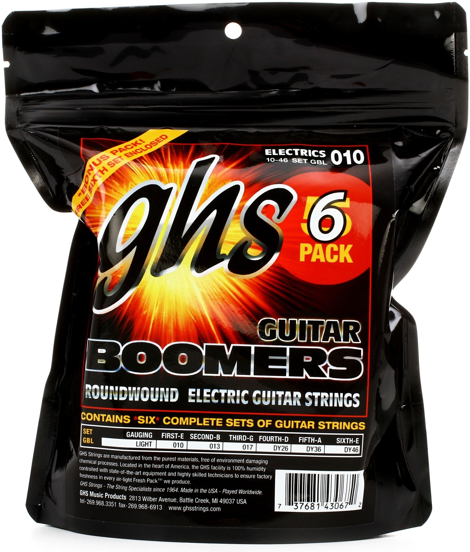GHS GBXL Guitar Boomers Electric Guitar Strings .010-.038 Light//Extra Light