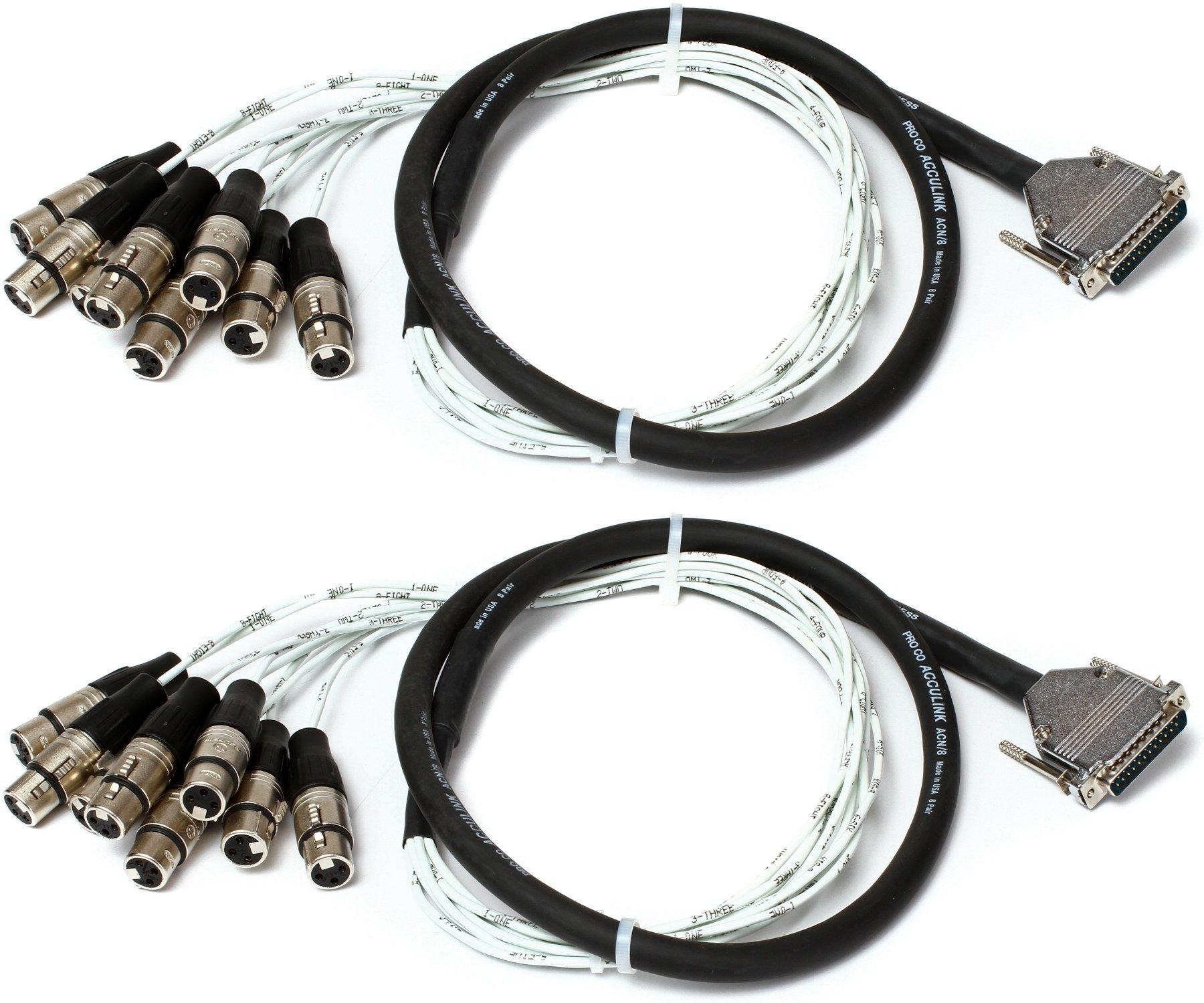 Pro Co (2) DA88XF-5 - Analog DB25/XLRF Patch Snake, 5\' 2-Pack ...
