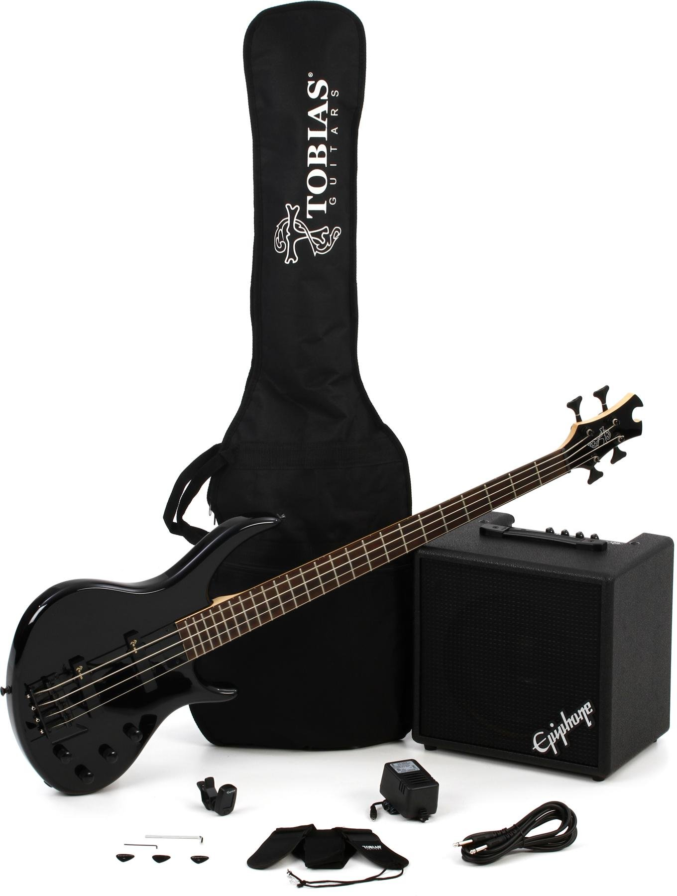 ae83daf72d0 Epiphone Toby Bass Performance Pack - Ebony. Bass Pack Including 4-string  Bass Guitar ...