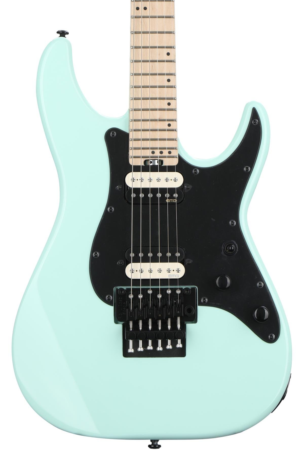 Schecter Sun Valley Super Shredder With Floyd Rose Sea Foam Green Low Amplifier Is Intended To Be Used In Conjunction An Electric Guitar Image 1