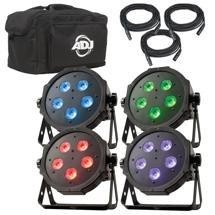 ADJ Mega Flat TRI Pak Plus RGB+UV Par Package (4-Pack)