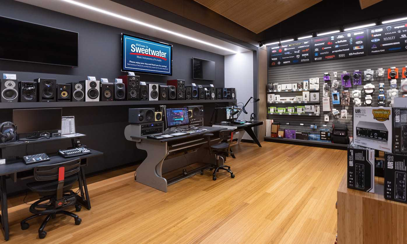 studio and recording room at the sweetwater music store. Black Bedroom Furniture Sets. Home Design Ideas
