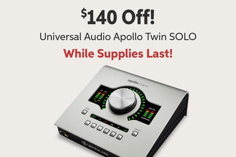 $140 Off! Universal Audio Apollo Twin SOLO While Supplies Last!