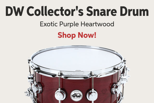 DW Collectoros Snare Drum Exotic Purple Heartwood Shop Now!
