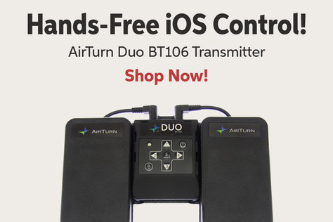 Hands-Free iOS Control! AirTurn Duo BT106 Transmitter Shop Now!