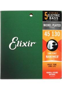 Elixir Strings 14202 Nanoweb Light Long Scale 5-String Electric Bass Strings