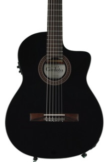 Cordoba C5-CETBK Thinline - Black, Canadian Cedar Top
