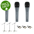 Sennheiser E835 Microphone 3-pack with Stands and Cables