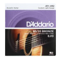 D'Addario EJ13 80/20 Bronze Custom Light Acoustic Strings