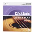 D'Addario EJ26 Phosphor Bronze Custom Light Acoustic Strings 3-PackEJ26 Phosphor Bronze Custom Light Acoustic Strings 3-Pack