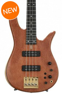 Fodera Monarch Standard Special, Redwood Pinburl - Natural, Gold Hardware, MOP dot inlay