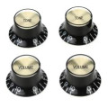 Gibson Accessories Top Hat Style Knobs w/Metal Insert - Black w/Gold