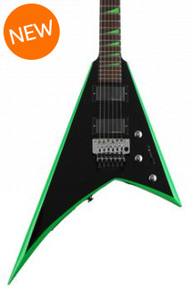 Jackson RR24 X Series Rhoads - Black with Neon Green Bevels