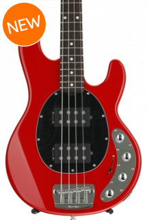 Ernie Ball Music Man StingRay 4HH, Sweetwater Exclusive - Chili Red with Black Pickguard, Rosewood Fingerboard
