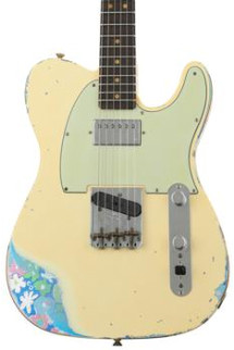 Fender Custom Shop Limited Edition Heavy Relic H/S Tele - Aged Vintage White Over Blue Flower