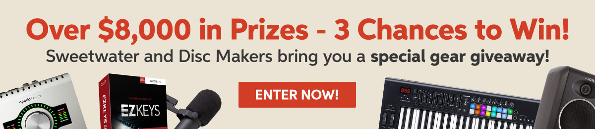 Discmakers and Sweetwater Giveaway - Over $8000 in Prizes, 3 Chances to Win!